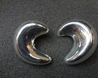 c423 Beautiful Modern Design Sterling Silver Half Circle Clip on Earrings