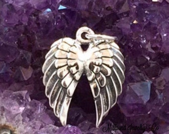 Double Angel Wings Charm, Angel Wings Charm, Angel Wings Pendant, Sterling Silver Angel Wings Charm, Feather Charm, PS01153