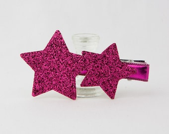 Hair Clip for Kids Girl, Baby Hair Clip, Pink Glitter Star Hair Clip - Dark Pink