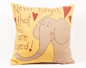 elephant pillow, christmas gift, gifts, present, animals, decorative pillows, throw pillows, love quotes, kids, nursery, baby shower, love
