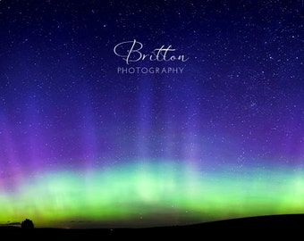 Nature Photography Print, Landscape Photo, Nature Wall Art, Night Photograph, Northern Lights, Aurora Borealis, Outdoor Picture, Panorama