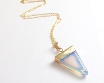 Gold Dipped Triangle Opal Necklace