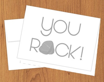 You Rock - Funny Just Because or Thank You Cards - 4bar