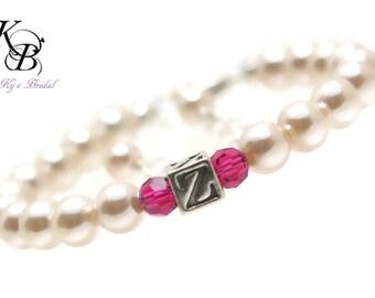 Birthstone Bracelet, Personalized Flower Girl Bracelet, Flower Girl Jewelry, Personalized Flower Girl Gift, Wedding Jewelry