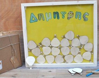 Wood frame guest book for baptism with 20 pieces wooden balloons, hand-painted name Dimitris