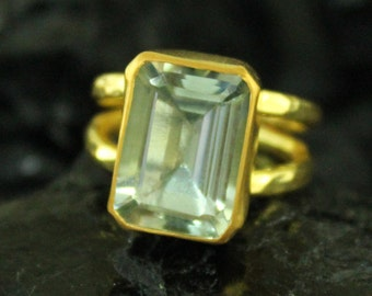 22K Gold Over 925K Sterling Silver Handmade Baget Green Amethyst Ring With Double Band