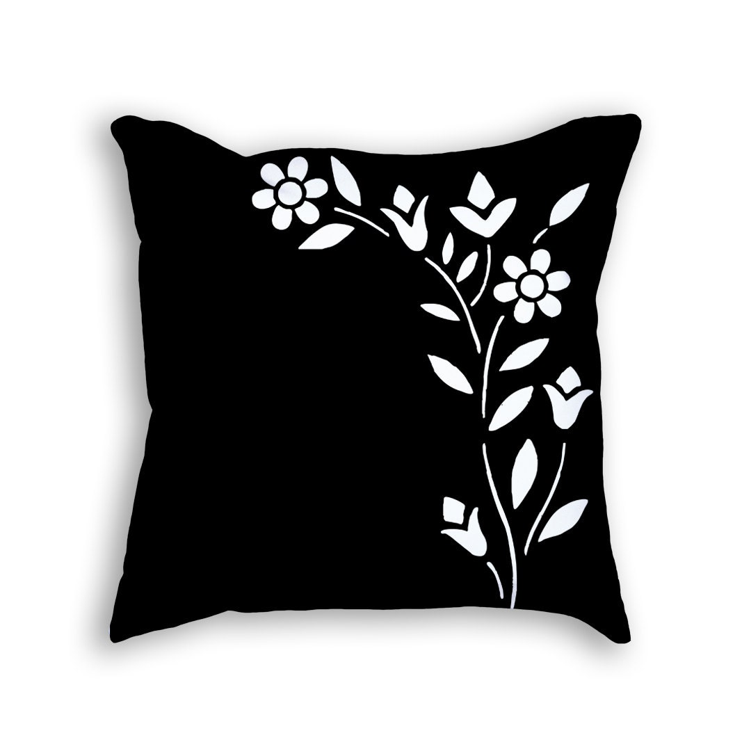 Modern black and white floral throw pillow. by ClearframeGallery