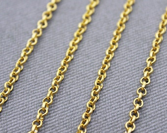 3mm Rolo Chain - 22k Gold Plated - 1 Meter or 3.3 Feet - Matte Gold Rolo Chain, 22K Gold Plated Rolo Chain, Delicate Rolo Chain