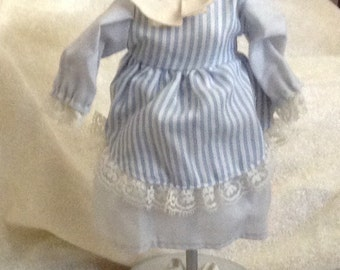 Darling Blue Striped Doll Dress & Hat