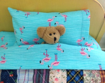 Pink Flamingo Print Sheets Blythe Doll Bed Bedding Pillowcase Playscale Home Decor
