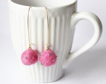 Pink felt earrings. Long pink earrings. Long earrings. Felted earrings