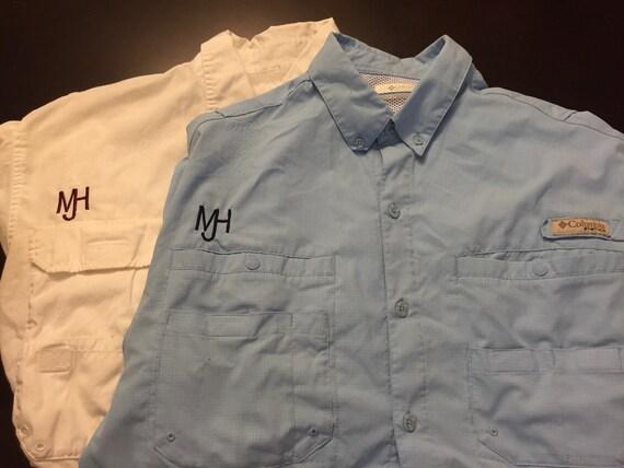 Short sleeve men 39 s columbia fishing shirt by simonograms for Custom embroidered columbia fishing shirts