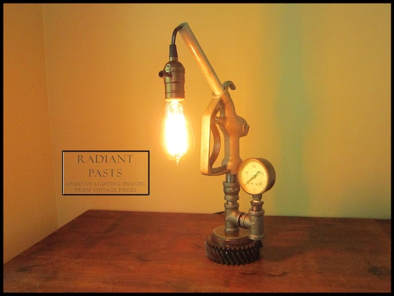 Table lamp lighting upcycled vintage gas pump by radiantpasts for Gas pipe desk lamp