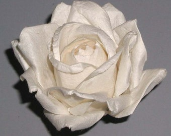 Handmade Paper/Parchment Roses - White - 12 roses bag