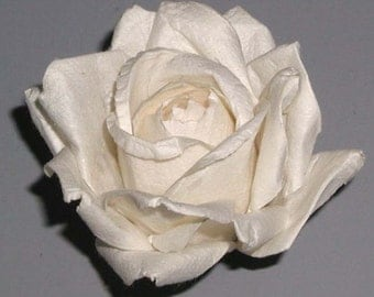 Handmade Paper/Parchment Roses - White/Ivory - 12 roses per bag