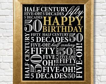 50th Birthday sign | 50th Birthday Party Decor | Gold Birthday Decoration | Digital, Printable