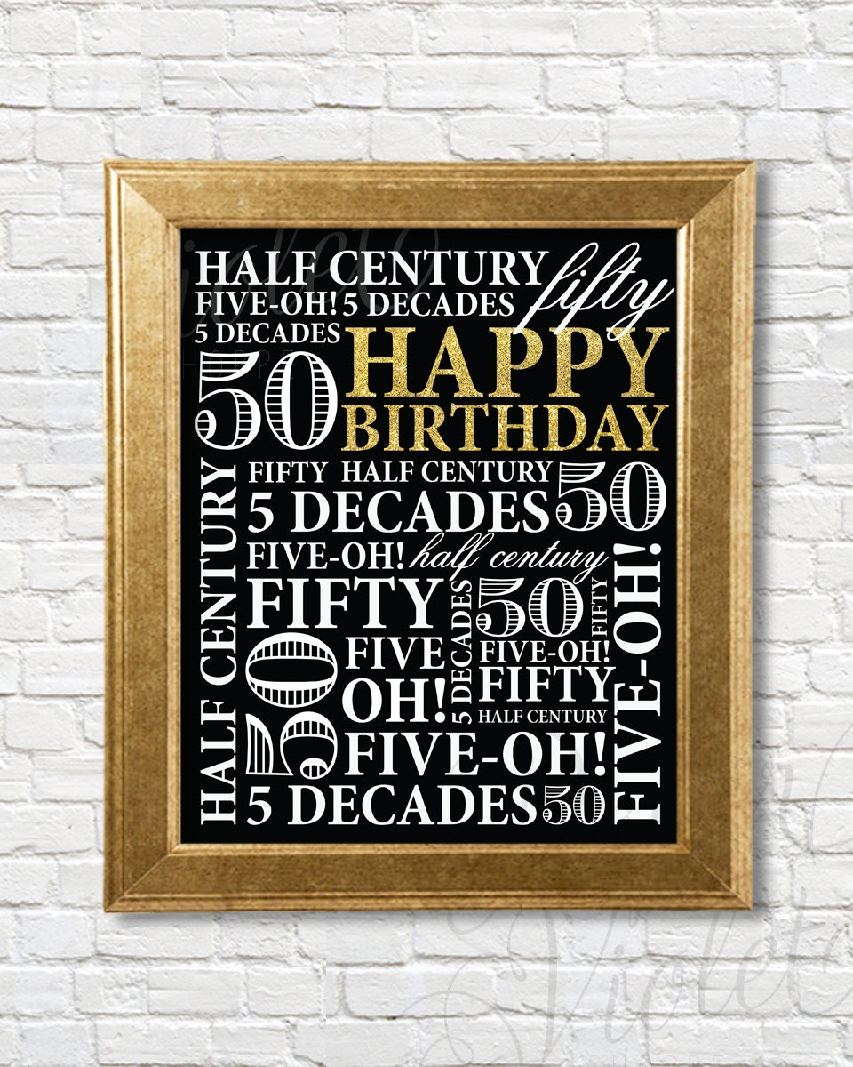 50th Birthday Sign 50th Birthday Party Decor Gold Birthday