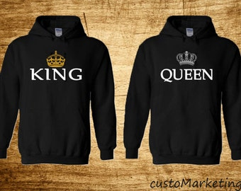 King and Queen Soul Mate Couple sweaters Cartoon- Funny Couple Hoodies Couple Sweatshirts