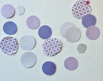 Lavender Mod Paper Garland, lavender garland, purple garland, violet garland, girl room, lavender room, girl baby shower, lavender wedding