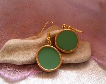 Everyday earrings. mint earrings. mint green earrings. simple earrings. round earrings.