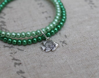 Green beaded bracelet stack with fish charm, Charm Bracelet, Fish Charm, Green, Beaded Bracelet, Aquatic Theme