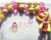 flutter shy Inspired My Little Pony Chunky Necklace