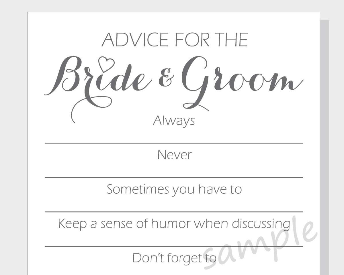 DIY Advice For The Bride & Groom Printable Cards For A Bridal