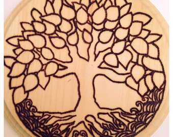 "6.5"" Round Hand Wood Burned TREE OF LIFE Wall Art"