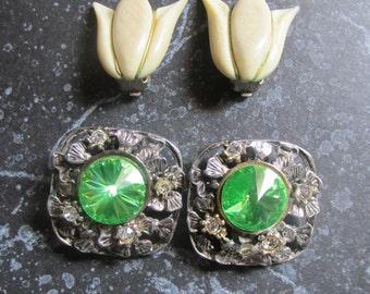 Vintage 1970's Bold Rhinestone Earrings and Tulip Earrings Clip On