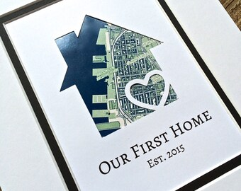Personalized Home Map Matted Gift Anniversary Gift