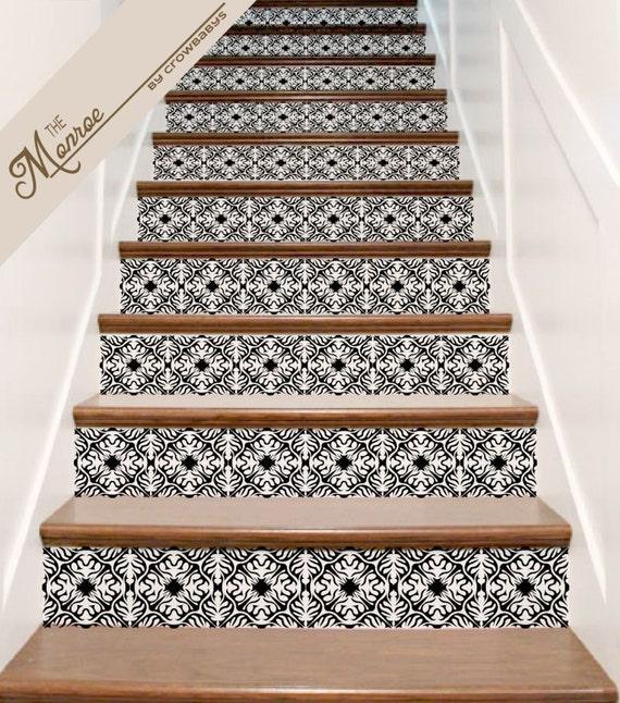 stickers escalier vinyl orn 233 carrelage autocollant decor pour panneaux 13 contremarches d