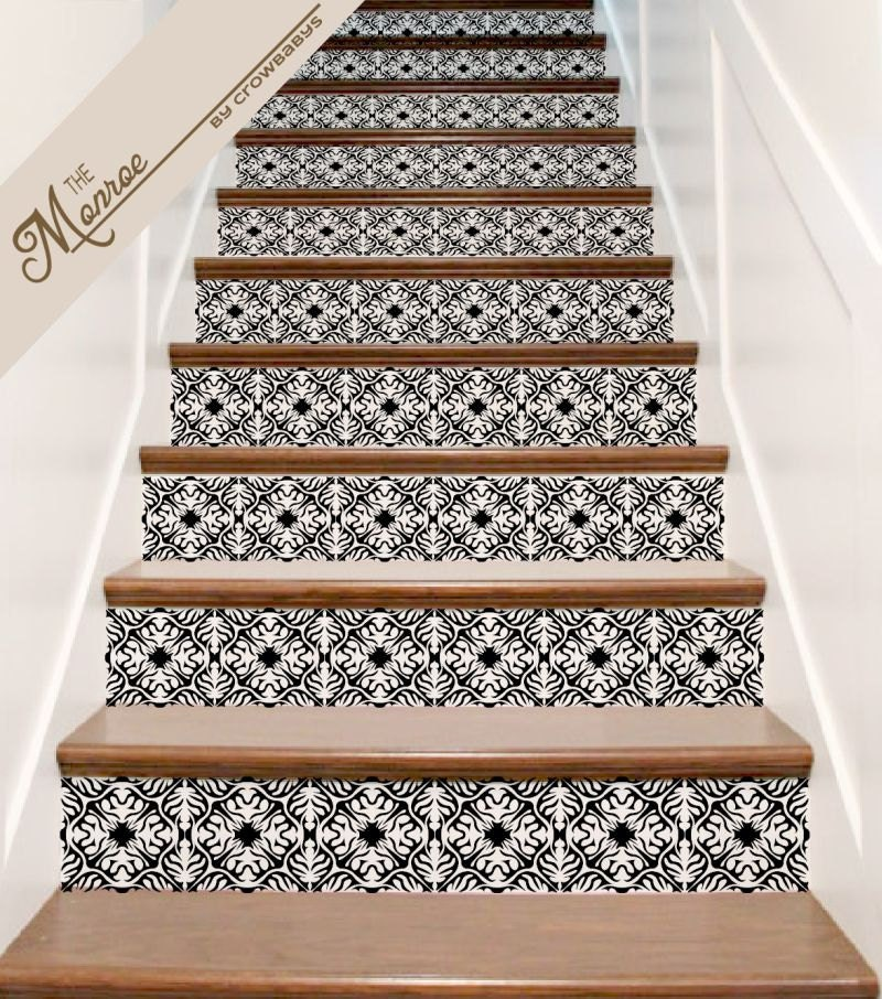 Stair decals ornate vinyl tile decal decor for stair riser - Stickers contremarche escalier ...