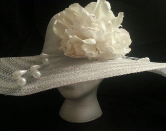 Peony & Pearls Derby Hat