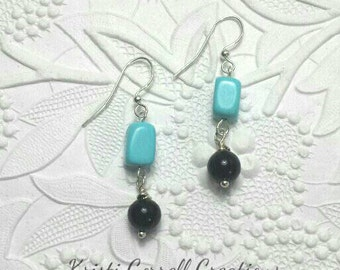 Unique turquoise and black onyx earrings, Turquoise and black earrings, Black and turquoise earrings, Turquoise black earrings.