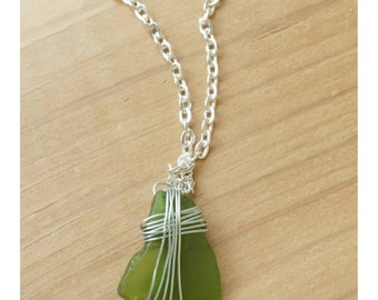 Sea glass pendant,  beach glass jewelry,  sea glass necklace,  beach glass necklace,  green glass necklace,  silver necklace,  wire wrapped