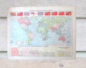 Vintage map - League of Nations / the World at War double sided 1920 map. Perfect for framing for home decor, study, office.