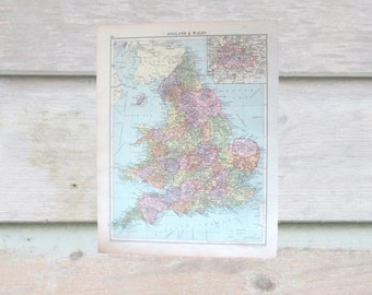 Vintage map - England and Wales / British Isles double sided 1920 map. Perfect for framing for home decor, study, office.