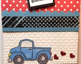 Loads of Love Handmade Blue Pickup Card for Birthday, Friendship, Get Well or Thinking of You