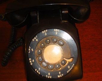 Vintage Black Rotary Dial Phone From the 60's/Vintage Phone/Rotary Dial Phone/Vintage Black Phone