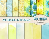 Watercolor Florals Digital Paper set,  Watercolor Daisies paper pack, yellow and blue painted texture commercial use