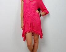 Crochet dress Crocheted Crimson Tunic, KNITTED pink Tunic, Beach Women dress, One Sleeve Summer Tunic,BOHO crocheted Dress, Lacy Tunic