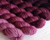 RUBINE 240 yard mini-skein set, High Twist Sock, superwash, merino, fingering weight, sock yarn, gradient, ombre
