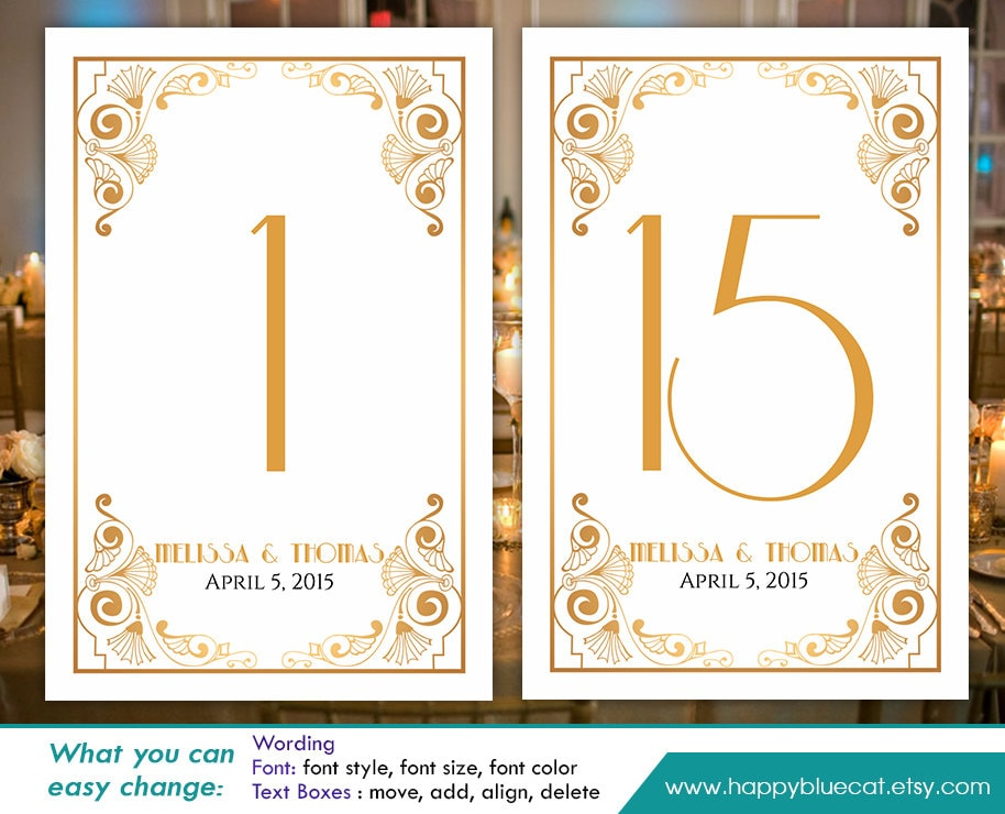 diy printable table number card template instant download. Black Bedroom Furniture Sets. Home Design Ideas