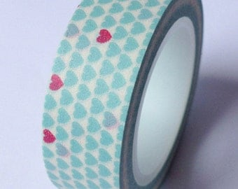 Washi Tape, Light Blue Washi Tape, Heart Washi Tape