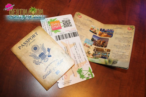 Vanessa's Destination Wedding Invitations - DIY - Antique Generic Wedding Passport & Boarding Pass Sample