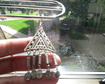 Handmade Tibetan Silver Chandelier with French Wire 925 Dangle Earrings, Weight 20 Grams, 3.36 X 1.41 Inch