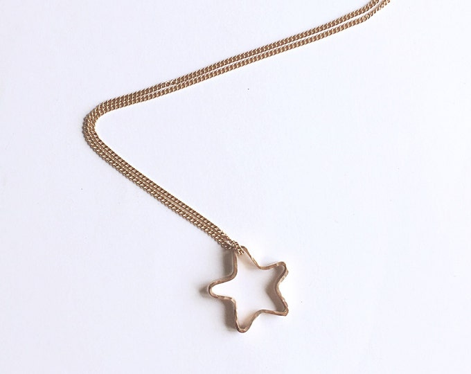 Rose Gold Star Necklace -  Star Pendant - Hammered - Red Gold - Handmade in the UK - Hallmarked
