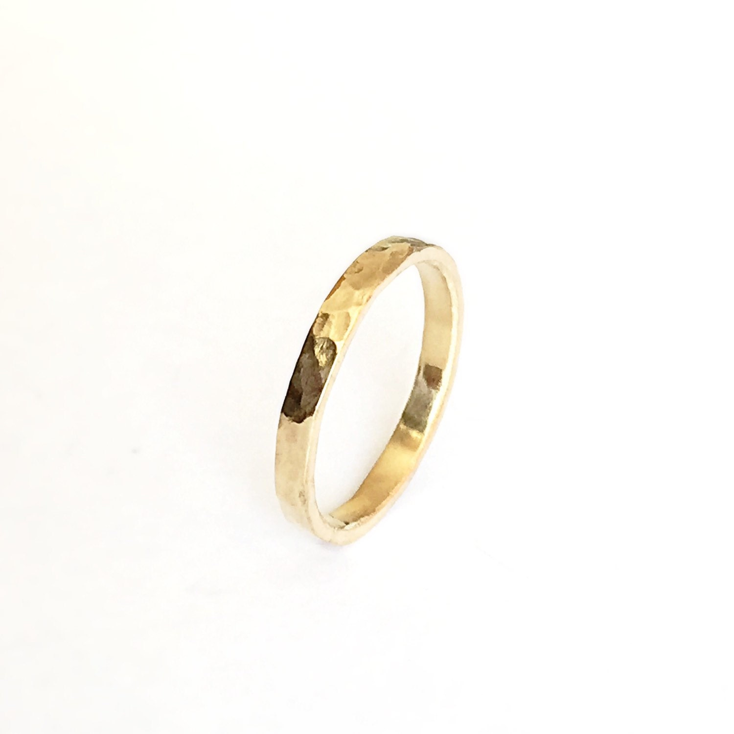 gold thin ring simple wedding band 18 carat hammered