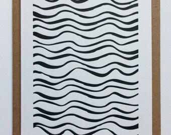 WAVES III / letterpress postcard handmade in Bordeaux