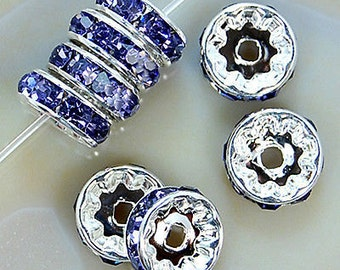 Silver Plated 8mm Crystal Light sapphire Rhinestone Spacer Wheel Rondelles Bead charms -beads spacers charm,  stone connectors spacers